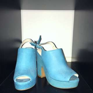 Backless Blue Wedge/heel X
