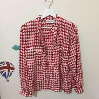 雪紡襯衫 紅色 韓系