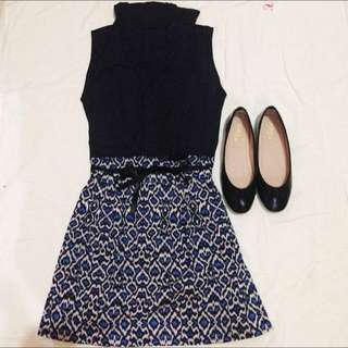Black with Animal Print Dress