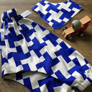 Handmade Baby Boys Harem Pants & Bandana Set, Size 0