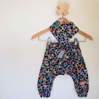 Handmade Baby Harem Pants & Bandana Set, Size 2 Available