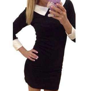 Peter Pan Collar Black Bodycon Dress