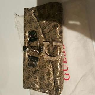 Authentic Guess Gold Clutch