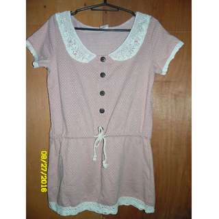 Pink lacey long blouse