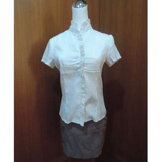 正式立領白襯衫