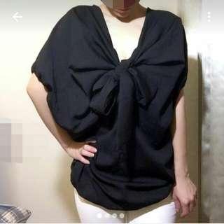 (轉賣)黑色燈籠袖前v綁蝴蝶結上衣