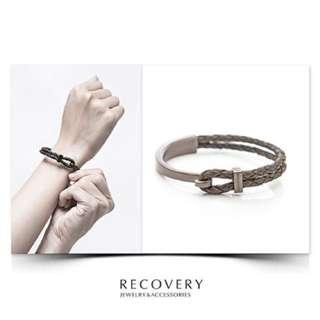 Recovery真皮編織扣環墨綠手環