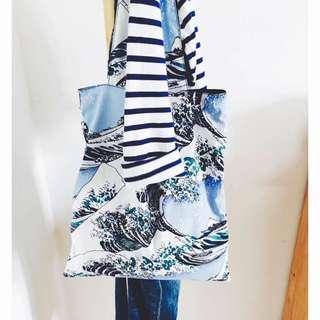 神奈川浮世繪海浪手提肩背包