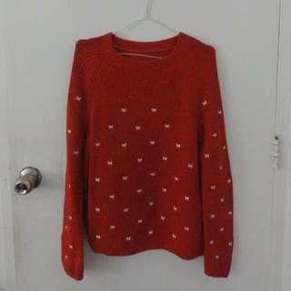 Red Crochet Sweater