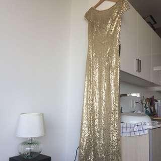 Gold Sequin Cowel-Back Dress