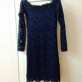 Midi Lace Dress H & M ( blue black )