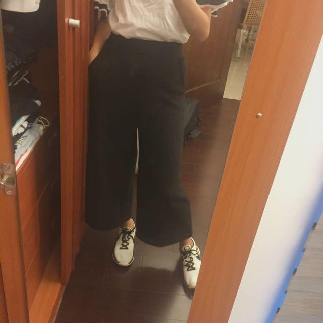 黑色羅紋寬褲