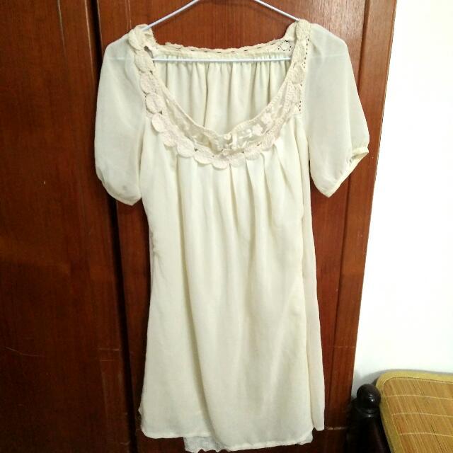 ~米白浪漫蕾絲洋裝