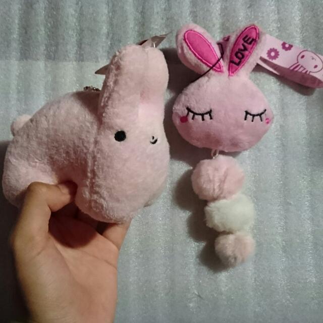 粉紅色 兔子玩偶 吊飾