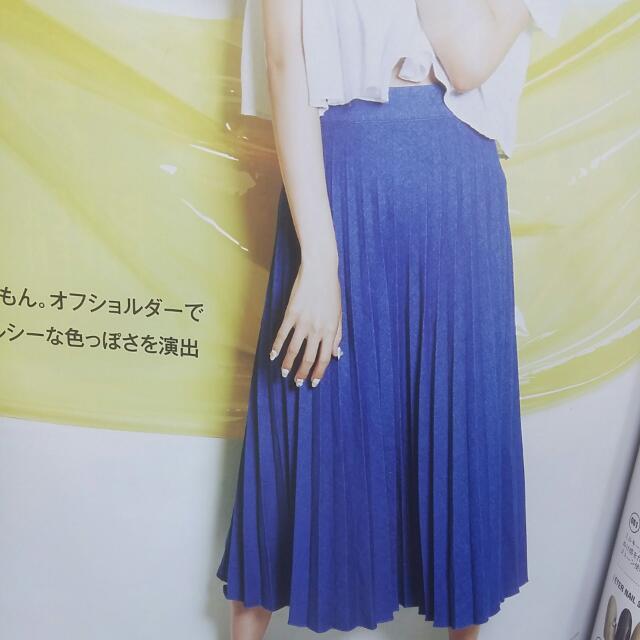 徵  此款 藍色百摺壓摺 長裙
