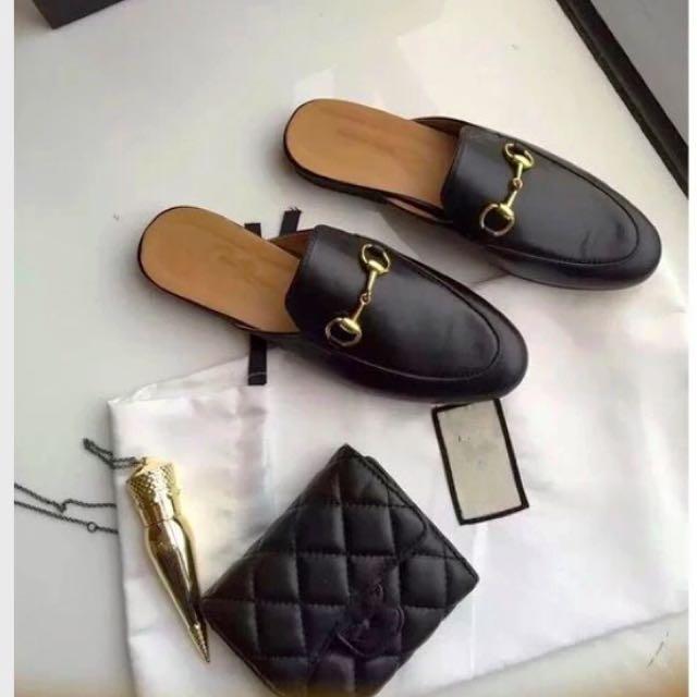 韓國訂製 真皮 馬銜釦 皮鞋 拖鞋 皮拖鞋  (三色)