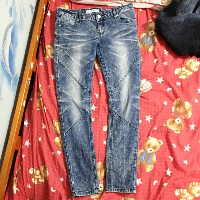 顯瘦 復古 雪花褲 直筒 牛仔褲L號