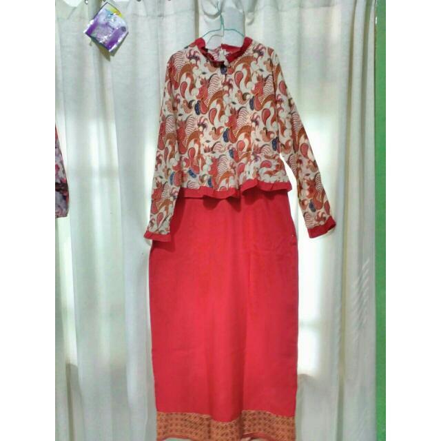 REPRICE!! Batik Dress Panjang Merah