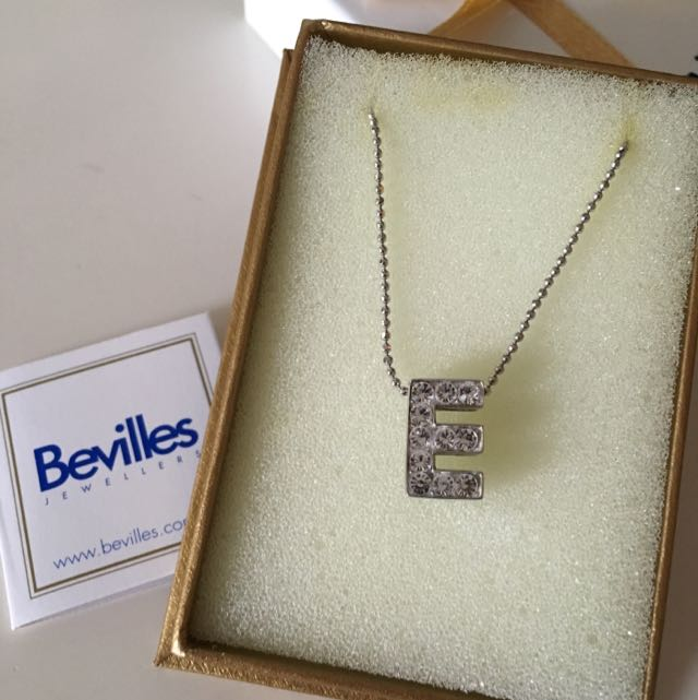 BEVILLES Sterling Silver E Initial Pendant Necklace