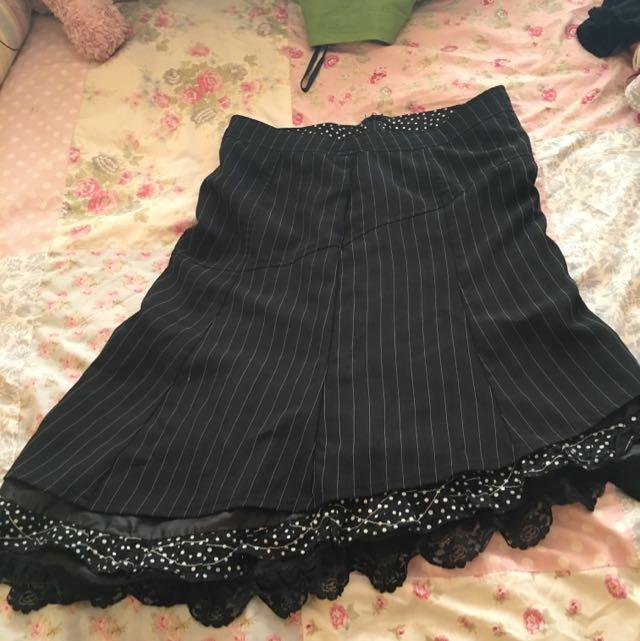 Black Pinstripe Lace Skirt