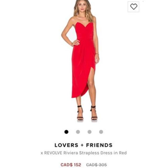 BNWT Lovers and Friends red strapless gown from Revolve