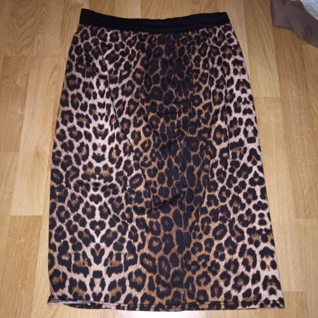 Boohoo leopard Print Midi Skirt