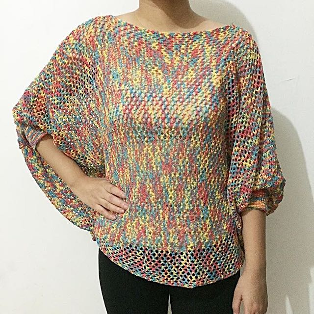 Candy Colored Bat Wing Blouse