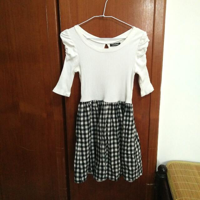 [日牌/日貨Cantwo] 學院風假兩件洋裝/連身裙