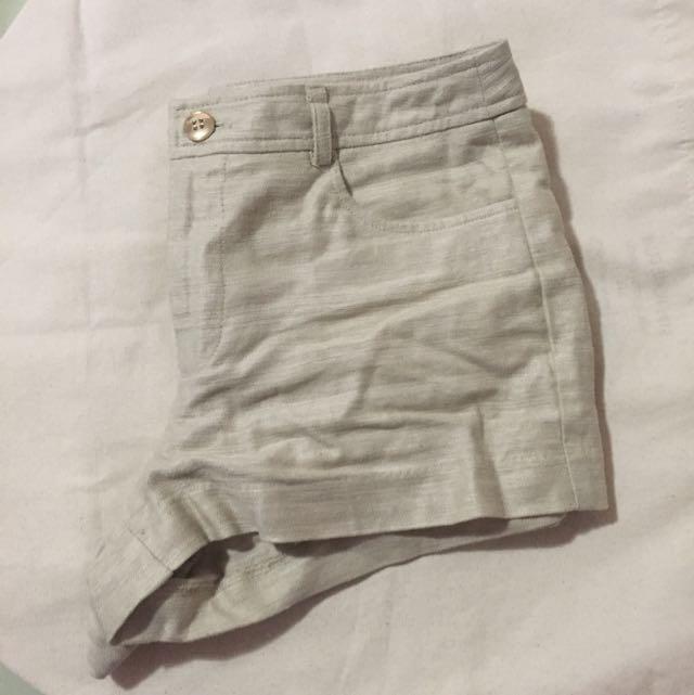 Cream Linen Shorts