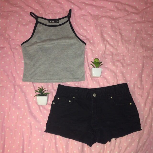 Crop Top And Shorts