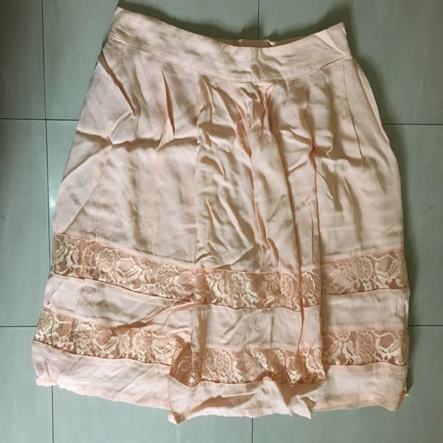 Forever 21 Peach Lace Midi Skirt