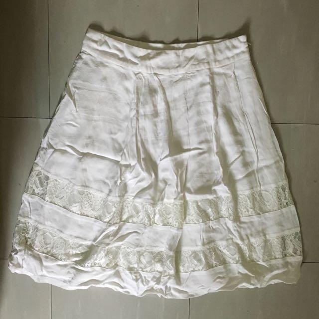 Forever 21 White Lace Midi Skirt