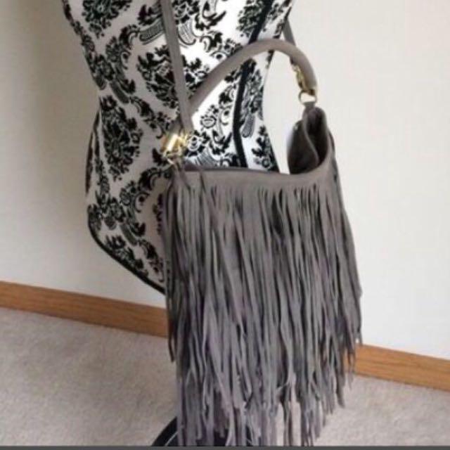 Grey Fringed Bag Brand New