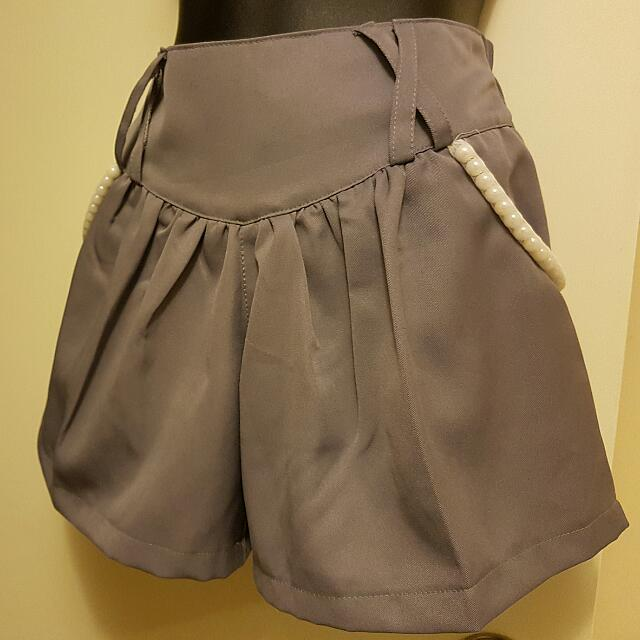 Grey Shorts With Pearl Details