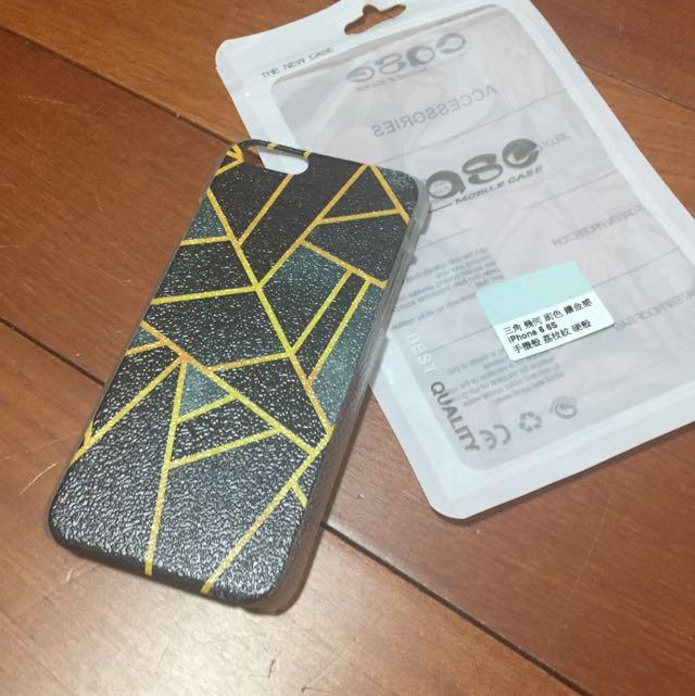 iPhone6 6s 三角幾何鑲金感荔枝紋硬殼手機殼