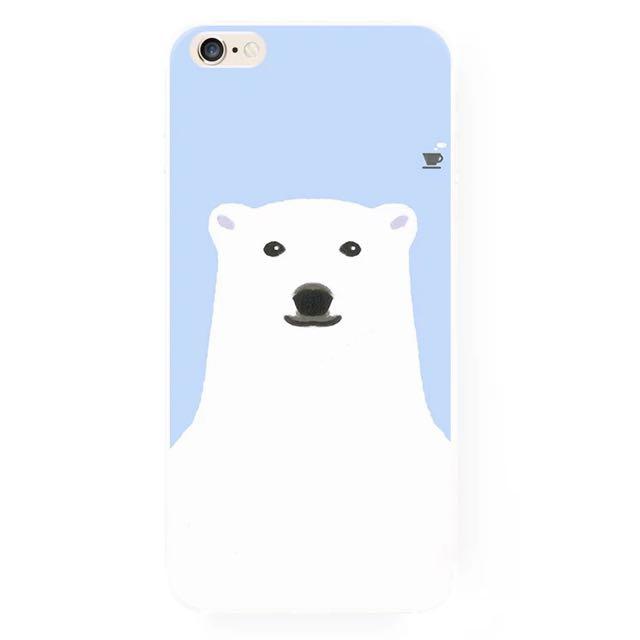 與北極熊喝咖啡iPhone手機殼(A)