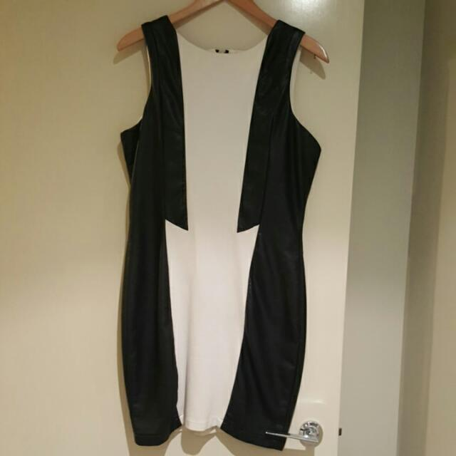 Leather panel side Dress