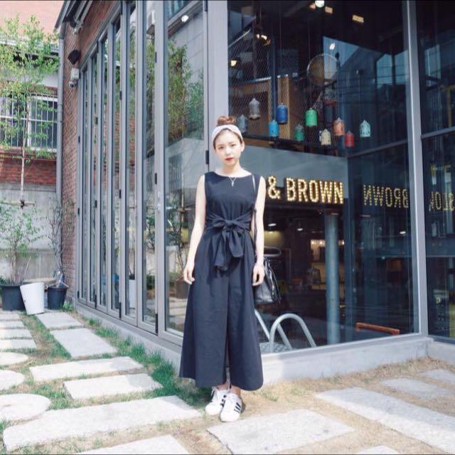 《含運》Lynn in jp 日系/黑色/露背/綁帶/連身/褲裙