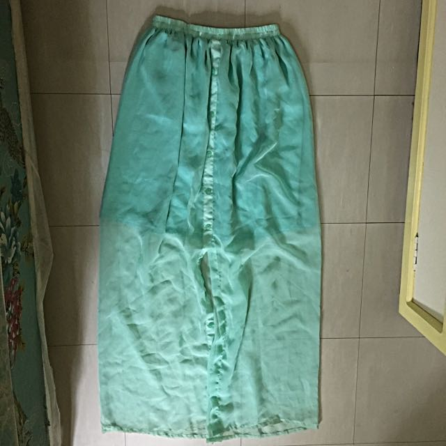Mint Chiffon Maxi Skirt