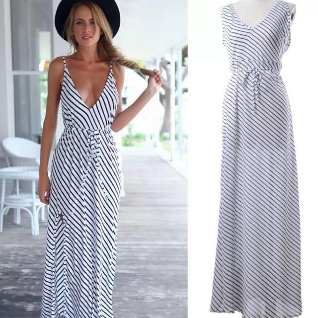 New S/M/L Beach/Casual Blue&White Stripe Dress