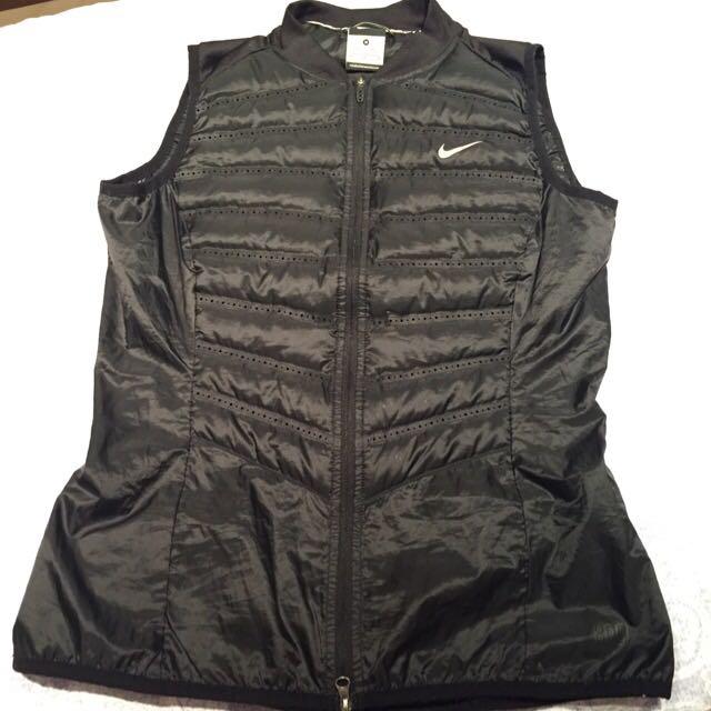 Nike Running 慢跑 跑步M號 黑色 羽絨防寒背心 超輕薄