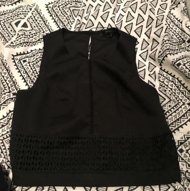 Portmans Black Crop Top - Size 6