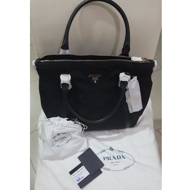 a0f81e08b881 ... italy prada br 5116 tessuto black silver hardware two way womens  fashion bags wallets on carousell