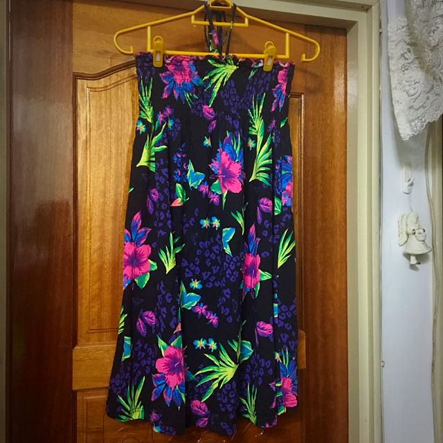 Roxy 繞頸綁帶 休閒 渡假 洋裝