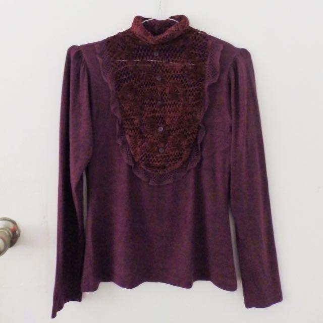 Sexy Burgundy Turtleneck Long Sleeves
