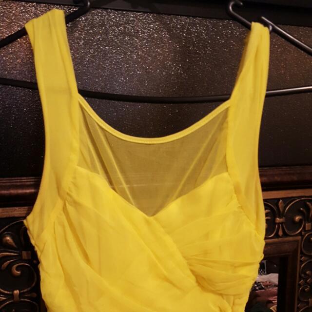 Yellow Bardot Net Dress