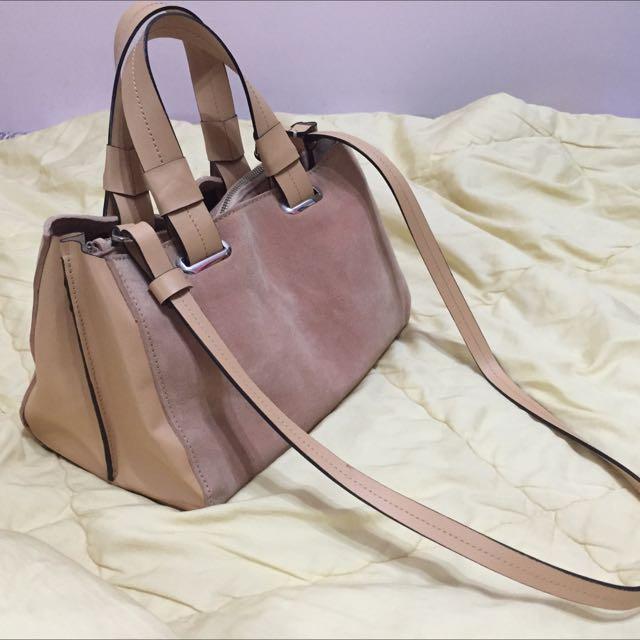 (降價)Zara包粉紅麂皮真皮兩用梯形肩背包