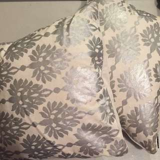 Silver And White Decorative Pillows