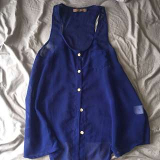 Deep Blue Sheer Button Up Small Blouse