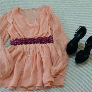 (Price Dropped) Baby Doll.peach Dress
